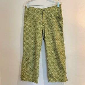EUC Prana Geo Green Hiking Capri Pants